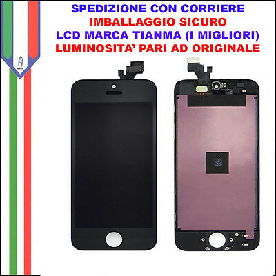 Schermo Display LCD Touch Vetro Apple Iphone 5 NERO Qualità Originale Tianma OEM