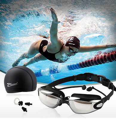 Anti Fog Adult Swimming Goggles Silicone Swim Cap Hat Ear Plugs Nose Clip Set