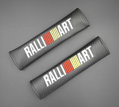 2 Ralliart Black Carbon Fiber Car Seat Belt Cover Shoulder Pad 036 AU Shipping