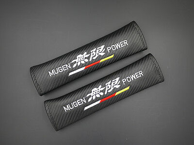 2 Mugen Carbon Fiber Car Seat Belt Cover Shoulder Pad 032 AU Shipping