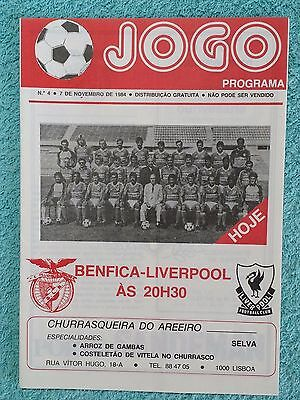 1984 - BENFICA v LIVERPOOL PROGRAMME - EUROPEAN CUP 2ND ROUND - V.G CONDITION