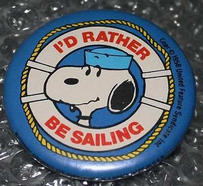 1958 Butterfly Original I'D RATHER BE SAILING Nautical SNOOPY PIN Peanuts DOG
