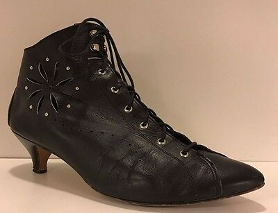 Vintage 80s Black Leather Punk Granny Boots with Cutouts, Size 10 M