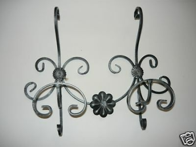 Coat racks wall 2 places wrought iron black