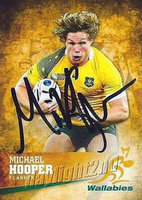 ✺Signed✺ 2016 WALLABIES Rugby Union Card MICHAEL HOOPER