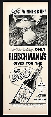 1952 Vintage Print Ad FLEISCHMANN'S Whiskey Golf Club Putter Image
