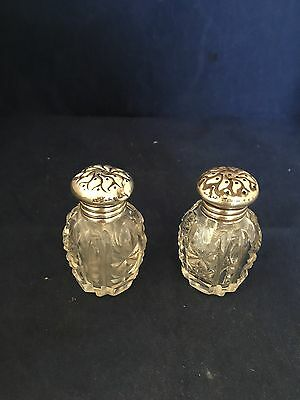 American Brilliant Cut Glass Salt And Pepper Shaker With Sterling By Wallace