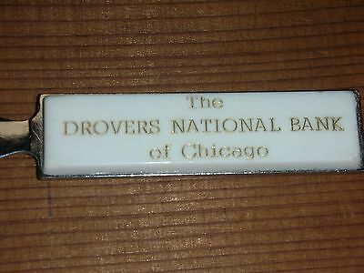 Vintage 85 yr Anniversary Letter Opener Drovers National Bank of Chicago @1968