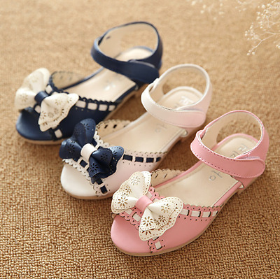 Baby Bow Princess Shoes Party Dress Kid Summer Flat Heels New Girls Shoes