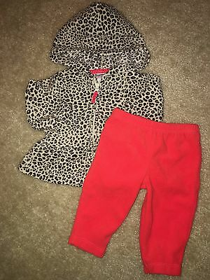Baby Girls Size 3 Months Soft Fleece Two Piece Red & Leopard Print Outfit Jacket