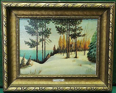 """Vintage Oil Painting On Board - """"Scarboro' Bluffs"""" By Canadian Artist """"Flansburg"""
