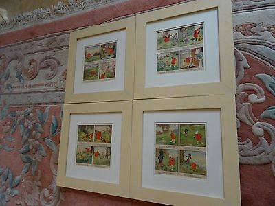 A Set Of 4 Matching Framed Rupert Bear Original Illustrations From 1951