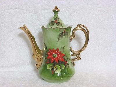Vintage Lefton Poinsettia Coffee Pot With Lid #4383