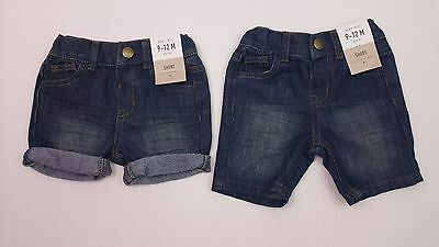 Boys DENIM & CO. Denim Shorts Adjustable Waist 9-12 Mths BNWT We Combine Postage