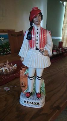 "Metaxa Man Greek Soldier Liquor Decanter Bottle Hand Painted Empty 18"" Tall"