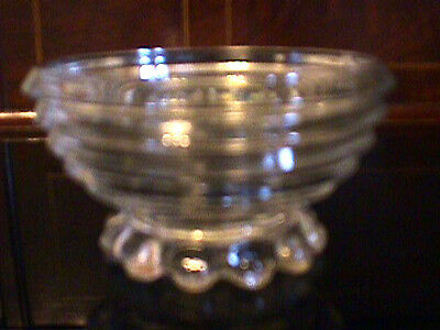 """1940-41 ANCHOR HOCKING CLEAR MANHATTAN 3.75"""" BUBBLE FOOT SHERBETS, 2 available"""