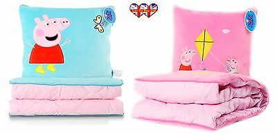 Peppa Pig 2 in 1 Children's Zip Up Pillow and Blanket ( Blue & Pink)