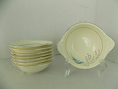Vintage Taylor Smith Taylor Blue Wheat Lugged Soup Bowls Set of Eight Excellent