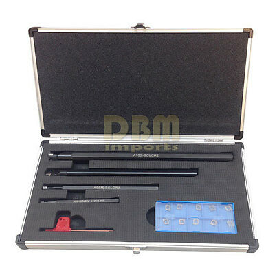 """4 PC SCLR Indexable Boring Bar Set 5/16"""", 3/8"""", 1/2"""" & 5/8"""" with 14 CCMT Inserts"""