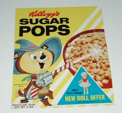 1960's Kelloggs Sugar Pops cereal box front panel w/ Sugar Pops Pete