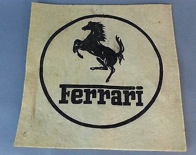 FERRARI OLD Felt Piece Logo SIGN Fabric Vintage Cream Black
