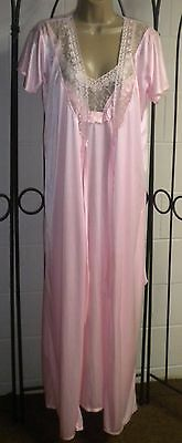 Vtg Princess Pink Pinnacle satin look Robe Nightgown Gown SET S