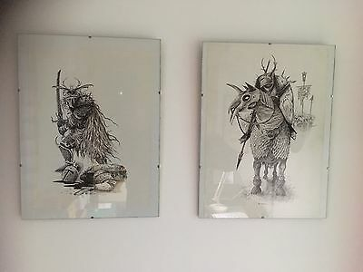 2 Original Pen Ink Drawing Sketch Warhammer Realm Of Chaos Lost And Damned Art