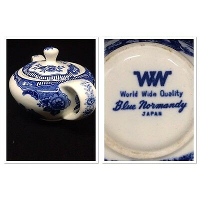 Vintage World Wide Quality 1940's  Blue Normandy Japan Sugar Bowl China