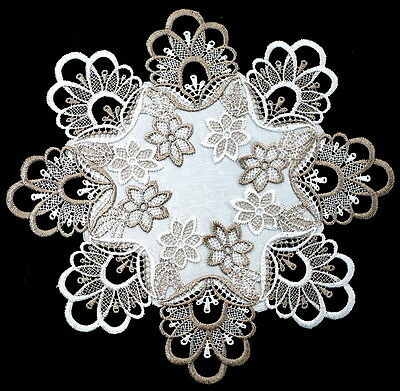 2pc Thick Lace Round Table Doilies Placemat Vintage Brown and white color