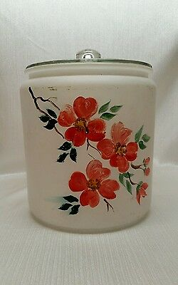 Vintage Frosted Glasd Gay Fad Hand Painted Canister / Cookie Jar