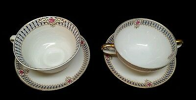 (2) C Ahrenfeldt Cups & Saucers White W/ Pink Roses & Blue & Gold Trim