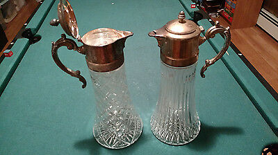 2 Glass Antique Beautiful Decanters/Pitcher FB Rogers silver plat made in Italy