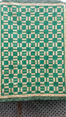 Crown Royal Apple quilt 60x80 35 green bags