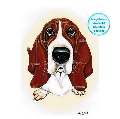 Basset Hound Art Dog Print Pet Portrait Picture