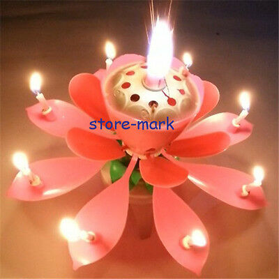 Romantic Magic Fair Musical Pink Rotatable Lotus Flowers Birthday Candle