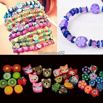 100pcs colorful Fimo Polymer Clay Fruit Spacer Beads for Bracelets Pendant Nice