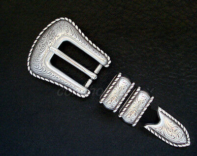 "Western Cowboy Antique Silver Rope Edge 4 Piece Belt Buckle Set Fits 3/4"" Belt"