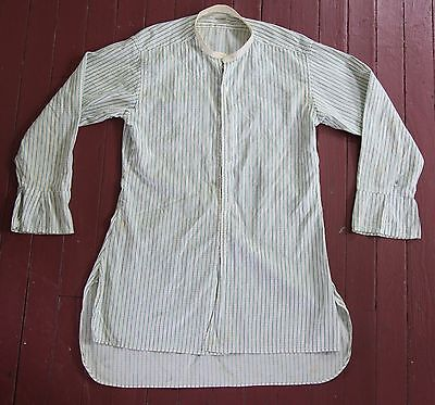 Vintage 1940's Men's Band Collar Hallmark Nouvelsoie Dress Shirt-Ticking Textile