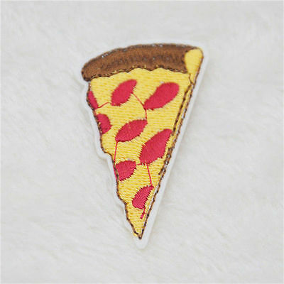 35x57mm CUTE Pepperoni Pizza Embroidered Sew Iron-On Patch Appliqué DIY NEW