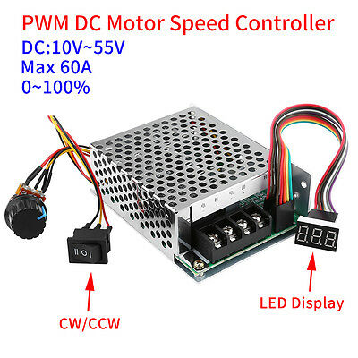 DC10-55V 12V 24V 48V PWM Motor Speed Controller CW CCW Reversible Switch inm