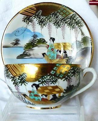 Antique Japanese Meiji Period Hand Painted KUTANI Eggshell Cup & Saucer, Signed