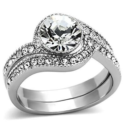 Silver Stainless Steel Simulated Diamond Engagement Ring Set Size 8 9 10 / P R T