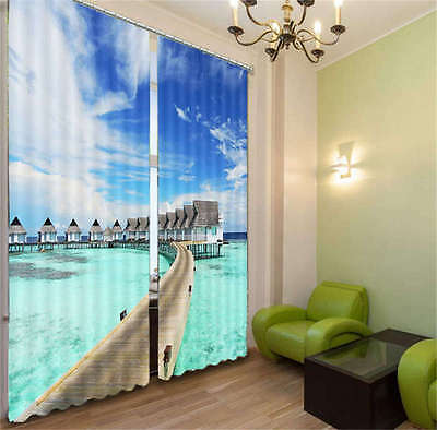 Romantic House In Island 3D Curtain Blockout Photo Print Curtains Fabric Window