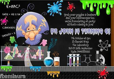 $1ea Mad Scientist Chemistry Science Party Invitations Invites