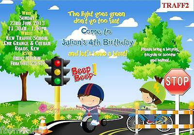 $1ea TRAFFIC SCHOOL BICYCLE RIDING BIRTHDAY INVITATIONS girl and boy versions