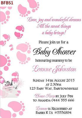 Baby Shower Baby Feet Invitations Invites 12 colours Boy Girl Neutral