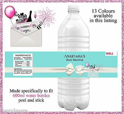 Aqua Blue White Bow Peel & Stick Personalised Party Water Bottle Labels Set Of 4