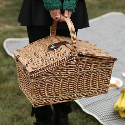 Wicker Picnic Basket Willow Hamper Camping Cups Plates Outdoor Travel Portable