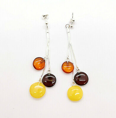 "Natural Baltic amber earrings ""Multi discs"" on sterling silver 925 chains"