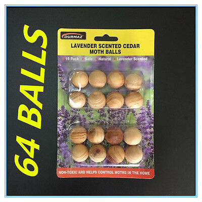 64 Wooden Moth Balls Lavender Scented Cedar Moth Ball Clothes Cupboard Protect W
